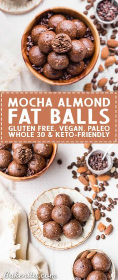 These Mocha Almond Fat Balls are chocolatey rich and full of healthy fats to help give you a little energy boost and keep you fueled. They're gluten-free paleo vegan and keto-friendly. Paleo Dessert, Gluten Free Desserts, Vegan Desserts, Cheese Dessert, Low Carb Recipes, Whole Food Recipes, Snack Recipes, Vegan Recipes, Whole30 Recipes