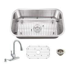 All-in-One Undermount Stainless Steel 21 in. 0-Hole Single Bowl Kitchen Sink with Faucet, Brushed Satin