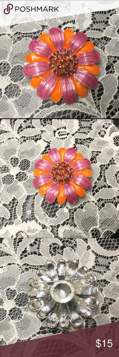 Pretty Orange and Pink Enamel Flower Brooch Pink and orange enamel silver tone brooch with orange rhinestones center. unknown Jewelry Brooches