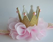 Pink and Gold Baby Crown Headband - Gold Glitter Baby Crown - Princess Crown - First Birthday Crown - Pink Toddler Crown - Photo Prop Crown by Moonpennieskids First Birthday Crown, First Birthday Parties, First Birthdays, Birthday Crowns, Princess Birthday, Baby Birthday, Princess Party, Princess Crowns, Disney Princess
