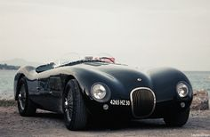 One of my favorite race cars ever, the Jaguar C Type (1951). 205bhp, triple twin-choke Webers, disc brakes all around. A barchetta on a mission.