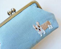 Corgi kiss lock purse - dusty blue linen.  Perfect for the Corgi lover!!