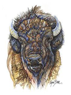 Bison Head Tattoo