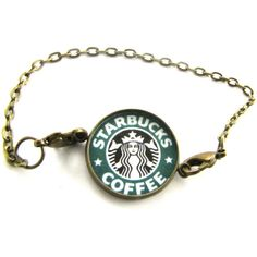 Starbucks Bracelet-Bronze chain,Coffee,altered art,fashion... (€13) ❤ liked on Polyvore