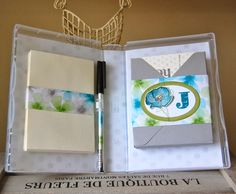 3/30/2014; Julie Kettlewell on her blog; the interior of Julie's stationery gift set; Watercolour Wonder paper and Note cards; the Envelope Punch Board was used to create the box; Happy Watercolor and Morning Post Alphabet stamp sets; Island Indigo and Pear Pizzazz ink