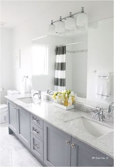 gray painted bathroom vanity ... love the colors