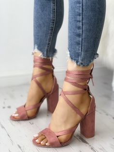 Shop Solid Strappy Chunky Heeled Sandals right now, get great deals at Chiquebabe Cute Heels, Lace Up Heels, Pumps Heels, Stiletto Heels, Heeled Sandals, Boho Heels, Strappy Sandals Heels, Gladiator Sandals, Studded Heels