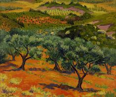 """Olive Trees, Les Baux,"" by Frederick John Pym Gore Tree Branch Tattoo, Pine Tree Tattoo, Landscape Art, Landscape Paintings, Oil Paintings, Landscapes, French Paintings, Watercolour Paintings, Olives"