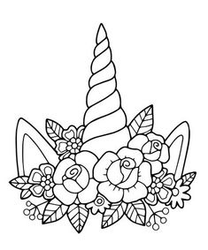 Lovely vector drawing of the unicorn horn with mane. Black and white, illustrati.,Lovely vector drawing of the unicorn horn with mane. Black and white, illustration with outline. Perfect for photo booth prop for a party or for a col. Adult Coloring Pages, Unicorn Coloring Pages, Cute Coloring Pages, Flower Coloring Pages, Printable Coloring Pages, Coloring Pages For Kids, Coloring Books, Coloring Sheets, Unicorn Horn For Horse
