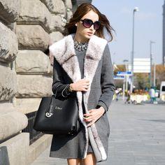 2015 new high-end handmade wool fleece Cross mink coat large lapel USD$699.75