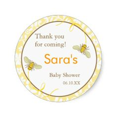 Bee themed Baby Shower | Bumble Bee Favor Stickers