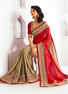 Shop this product from here.. http://www.silkmuseumsurat.in/gorgeous-red-and-beige-color-saree?filter_name=4080  Item :#4080 Color : Beige, Red Fabric : Jacquard, Shimmer georgette Occasion : Bridal, Party, Reception, Wedding Style : Half n Half Saree Work : Embroidered, Kasab, Kundan Work, Patch Border, Resham, Stones