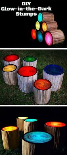 log stools painted with glow in the dark paint.. very cool by the campfire!