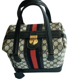 624920430cbe65 Gucci Boston Train Case Treasure Navy Blue Leather & Gg Coated Canvas  Satchel 49% off retail