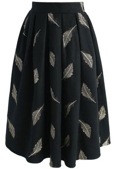 Precious Feather Embroidered Skirt in Black - New Arrivals - Retro, Indie and Unique Fashion