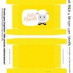 Caixa para 6 Baton Presente para Páscoa Crista Ovelhinha Amarelo
