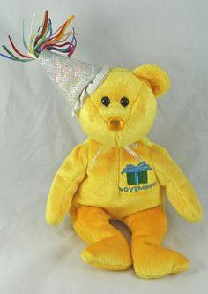 Ty Beanie Baby NOVEMBER the Birthday Bear with Hat 10