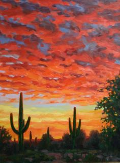 In Arizona the Sunsets are the stuff of legends. The vivid colors take your breath away as the sun lights up the skies and fades into evening, This captures the Sonoran Desert with the sun burning brightly turning the sky around it into bright oranges and reds that fade to blues and violets. When I saw this sunset I knew I had to paint it. That memory is something I will always cherish. This is a canvas print of the original painting. The print measures 16