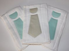 Set of 3 Necktie Burp Cloths in Gray and Aqua for Baby Boy - Baby Shower Gift. $22.00, via Etsy.