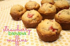 kid-approved strawberry banana muffins!