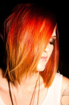 Fire red ombré hair