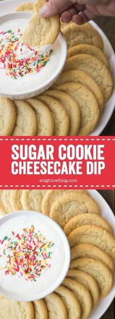 This Sugar Cookie Cheesecake Dip is delicious fun and easy - great to serve at parties! Great with fruit cookies graham crackers and… Sugar Cookie Cheesecake, Cheesecake Cookies, Fruit Cookies, Birthday Cheesecake, Chip Cookies, Easy Desserts, Delicious Desserts, Yummy Food, Dessert Dips