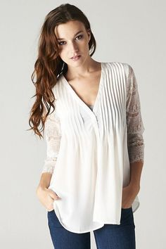 Love the arm detail | Lace Pintuck Tunic