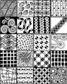 ... printable sheets to serve as a quick reference for zentangle patterns by ava