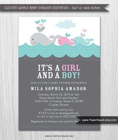 Twins baby shower invitation twin girl twin boy boy and girl whale theme baby shower invitation twins boy and girl baby shower digital file printable item 146g filmwisefo Image collections