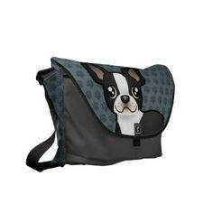 Cartoon Boston Terrier Messenger Bag