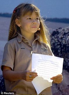 Bindi Irwin, the daughter of 'Crocodile Hunter' Steve Irwin, reads a speech for her father at a memorial service at Australia Zoo in Beerwah September 20, 2006