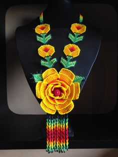 Bead Jewellery, Jewelry, Mexican Designs, Crochet Necklace, Embroidery, Beads, Flowers, Decoration, Chokers