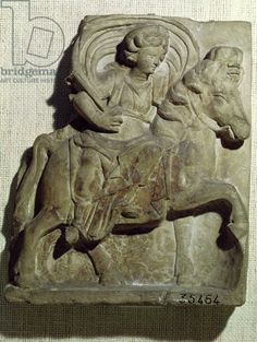 Relief of Epona, Gaulish goddess, protector of horses, riders and travellers, from Gannat, Allier, c.50 BC-400 AD (clay), Gallo-Roman / Musee des Antiquites Nationales, St. Germain-en-Laye, France / Giraudon / The Bridgeman Art Library