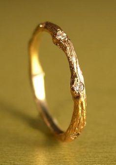 K. Brunini Small 18k Rose Gold & Diamond Twig Ring. $935  Oh my god I wish. SO badly.