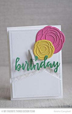 Scribble Roses Die-namics, Scribble Roses Overlay Die-namics, Wonky Chevron Background, Brushstroke Birthday Greetings Die-namics, Double Stitched Rectangle STAX Die-namics  - Keisha Campbell #mftstamps