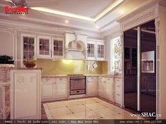 Sử dụng gam màu trắng làm gian bếp ăn thêm sạch sẽ, gọn gàng và ngăn nắp