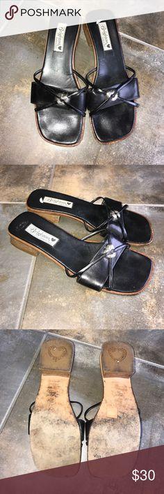 Brighton LORETA SANDLES Proximately 2 inch block heel leather upper made in Italy 8.5 M Brighton Shoes Sandals
