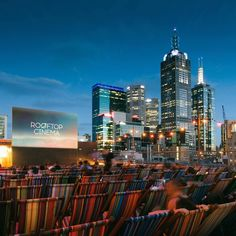 Rooftop cinema, Melbourne Alfresco cinema, city skyline and a world-class bar. Stop showing off, Melbourne. Melbourne Bars, Melbourne Restaurants, Melbourne Street, Great Places, Places To See, Amazing Places, Outdoor Cinema, Best Rooftop Bars, Melbourne Victoria