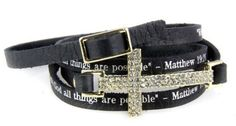 4031091 Matthew 19:26 Christian Cross Leather Wrap Bracelet Religious Bible J... by Christian Leather Bracelets -- Awesome products selected by Anna Churchill