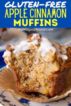Bite into bakery-style gluten-free apple crumb muffins that are also easy to make! These moist muffins are loaded with chunky bites of apples, topped with a thick layer of cinnamon brown sugar crumb topping, and drizzled with a sweet vanilla glaze. Gluten Free Baking, Gluten Free Desserts, Gluten Free Recipes, Vegetarian Desserts, Gf Recipes, Bread Recipes, Muffin Recipes, Apple Recipes, Baking Recipes