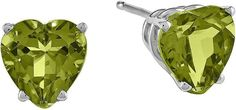 FINE JEWELRY Genuine Peridot 14K White Gold Heart-Shaped Earrings