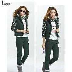 2014 Winter Casual Printed Sweatshirt Women Sport Suit Fashion Lady Fleece Cartoon Slim Monkey Tracksuit Contrast Pullovers 3pcs