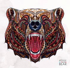 indian bear: Patterned head of the growling bear on the grunge background…