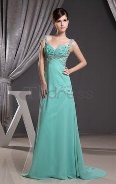 Long Evening Dresses-A-line Sleeveless Backless Brush Train Evening Dresses