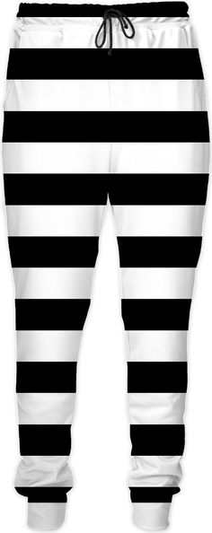 Classic Jail, Prisoner Stripes Pattern joggers, jogging pants, black and white geometric design  - for more art and design be sure to visit www.casemiroarts.com, item printed by RageOn at www.rageon.com/a/users/casemiroarts - also available at www.casemiroarts.com - This product is hand made and made on-demand. Expect delivery (aproximate time frames) to US in 11-23 business days (international 14-33 business days). #pants #clothing #style #fashion