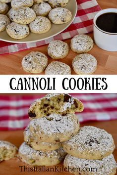 Cannoli Cookies have all of the cannoli flavors you love like ricotta, chocolate chips, pistachios, and orange. Don't miss these delicious cannoli ricotta cookies! #cannolicookies #cannoli Cake Recipes For Kids, Easy Cookie Recipes, Baking Recipes, Dessert Recipes, Fall Desserts, Christmas Desserts, Chocolate Chips, Chocolate Chip Cookies, Ricotta Cookies