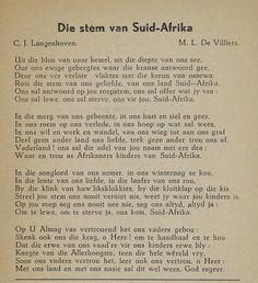 Die Stem van Suid Afrika - Old South African National Anthom. Afrikaans Language, Union Of South Africa, Afrikaans Quotes, Pretoria, African History, Childhood Memories, Van, Words, Poetry