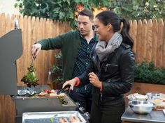 Warming Up the Winter  : Proving that every season is a good time to grill outdoors, Jeff and Katie prepared lean salmon fillets and turned them into quick-fix suppers: her Grilled Salmon with Citrus-Fennel Salad and Grilled Escarole and his  Salmon and Veggie Linguini.
