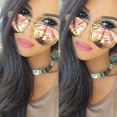 Original Rose-Gold-Quality-Mirrored-Aviator-Women Sunglasses+ Free Pouch   84d0e04932ba