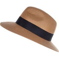 River Island Camel fedora hat